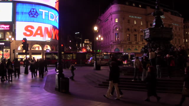 ms, piccadilly circus at night, london, england - french culture stock videos & royalty-free footage