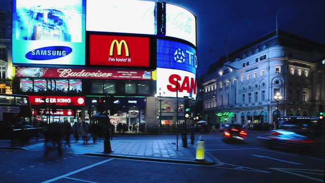 t/l ws piccadilly circus at night, london, england - piccadilly circus stock videos and b-roll footage