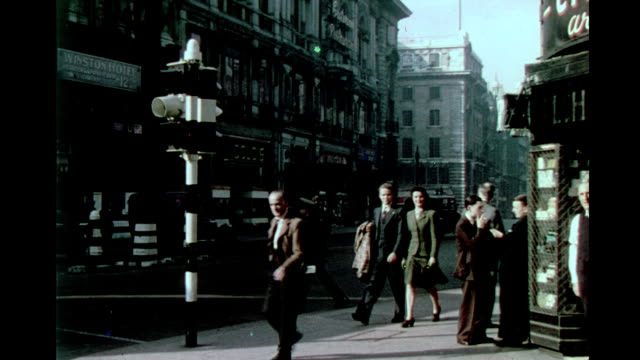 piccadilly circus criterion restaurant heavy pedestrian traffic piccadilly circus during wwii on january 01 1944 in london - the blitz stock videos and b-roll footage