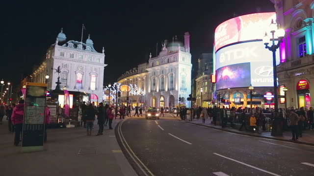 Piccadilly Circus in London at night.