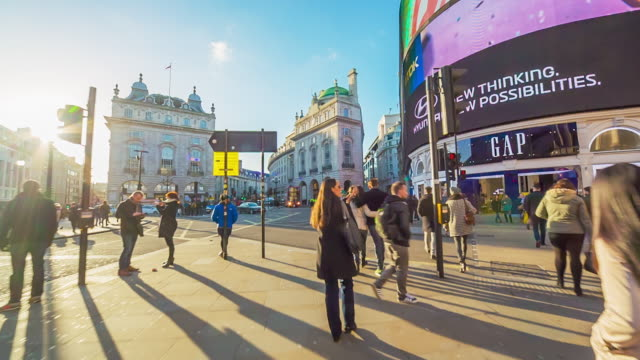 piccadilly circus in london at sunset. - walking point of view stock videos and b-roll footage
