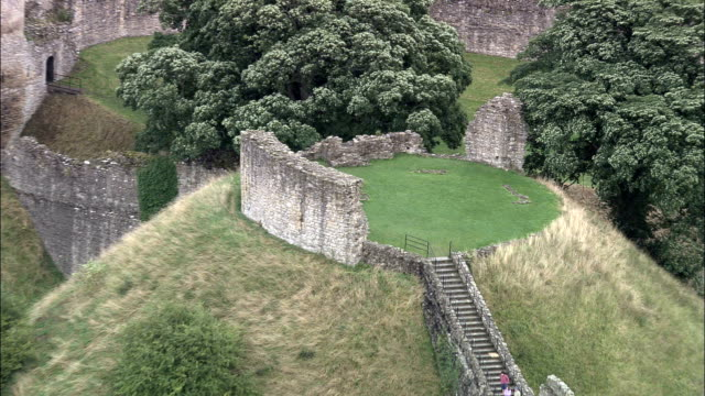 pickering castle - aerial view - england, north yorkshire, ryedale district, united kingdom - castle stock videos & royalty-free footage