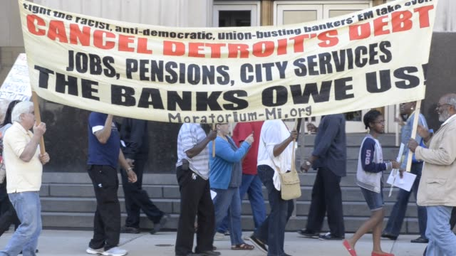 Picket line outside Detroit bankruptcy court on August 02 2013 in Detroit Michigan