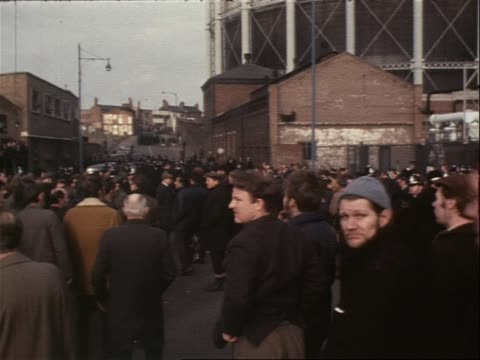 picketers at gas works support the miners strike - miner stock videos and b-roll footage