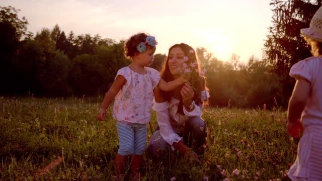 牧草地のママの花をつんで - 子供2人の家庭点の映像素材/bロール