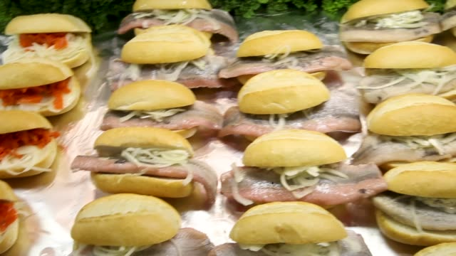 pickled herring sandwiches await visitors at the 2018 international green week agricultural trade fair on january 19 2018 in berlin germany the... - tradeshow stock videos and b-roll footage
