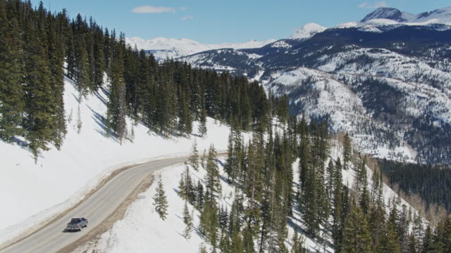 pickup truck on million dollar highway - aerial - truck stock videos & royalty-free footage