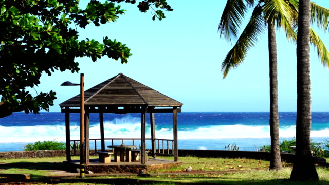 Picnic area in Reunion Island a sunny day