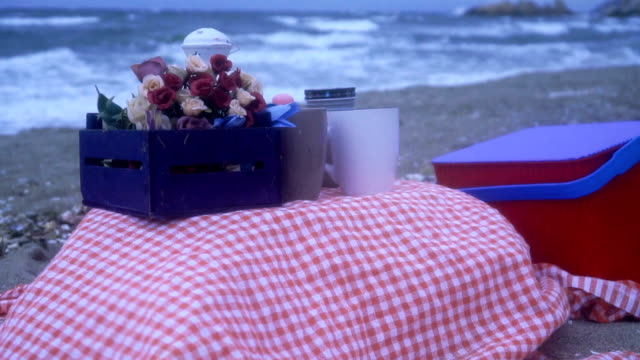 picnic basket on blanket on the beach - gingham stock videos & royalty-free footage