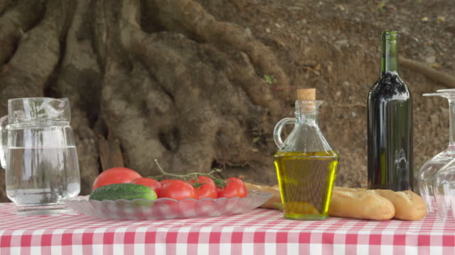 pan picnic table in garden with food and drink prepared for al fresco dining - picnic table stock videos & royalty-free footage