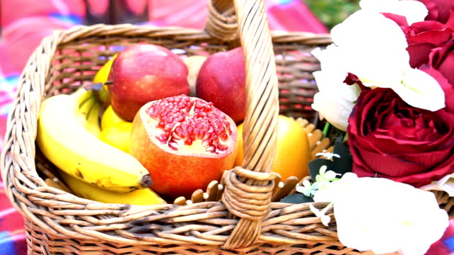 picnic wicker basket with food on beach - picnic basket stock videos & royalty-free footage