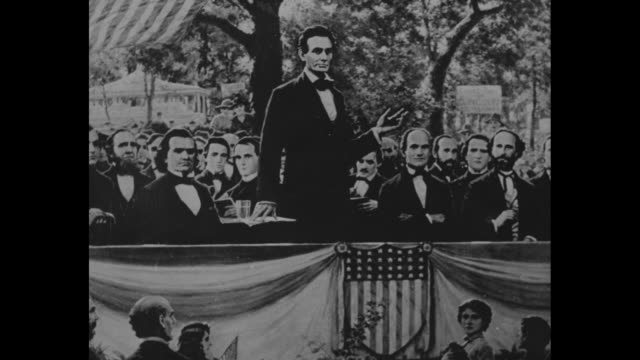 picture depicting abraham lincoln during debate / title lincolndouglas debates begin august 21 1858 superimposed over picture / title two candidates... - エイブラハム・リンカーン点の映像素材/bロール