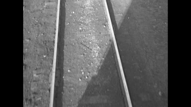 picture of officials being taken / crowd at train station / train 3445 drives through ribbon / wheels / locomotive at&se moving on track / train... - schienenverkehr stock-videos und b-roll-filmmaterial