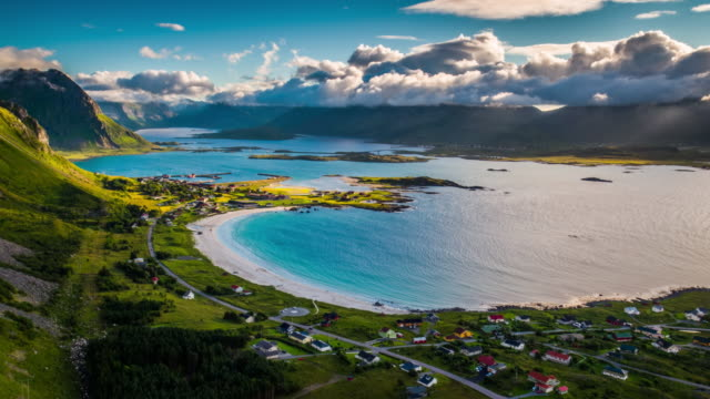 AERIAL: Picturesque fjord with idyllic beach at the Lofoten Islands in Norway