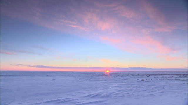 pan picturesque sunrise over barren fields of ice and snow / churchill, manitoba, canada - manitoba stock videos & royalty-free footage
