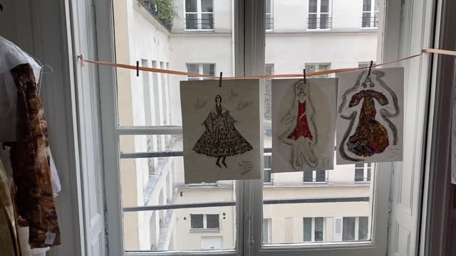 pieces of art and signed drawings are on display at franck sorbier house during a spring sales exhibition on march 22, 2021 in paris, france. . - drawing activity stock videos & royalty-free footage