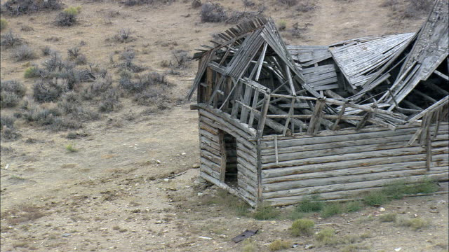 piedmont ghost town  - aerial view - wyoming, uinta county, united states - shack stock videos & royalty-free footage