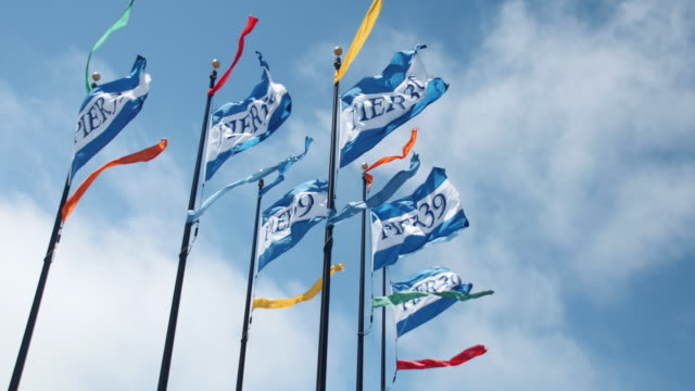 stockvideo's en b-roll-footage met pier 39 flags blowing in wind, san francisco - pier 39