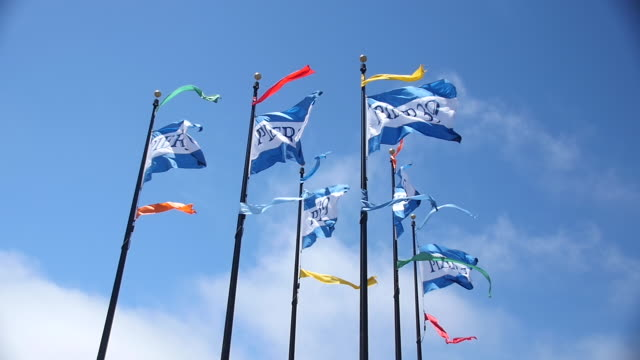 stockvideo's en b-roll-footage met 'pier 39' flags blowing in wind, slow motion, san francisco 2 - pier 39