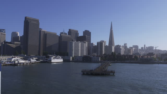 pier 7 and city skyline with seagulls flying by; transamerica pyramid building and construction crane in the distance - san francisco bay stock videos & royalty-free footage