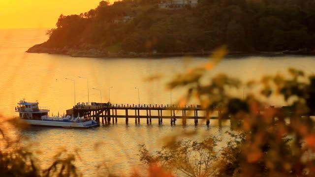 pier at sunset - virginia beach stock videos & royalty-free footage