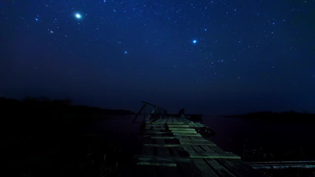 Pier in Nightime and Stars timelapse