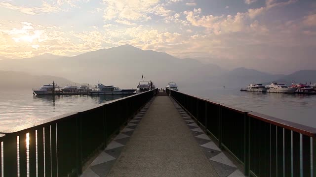 pier of sun moon lake - wen wu temple stock videos and b-roll footage