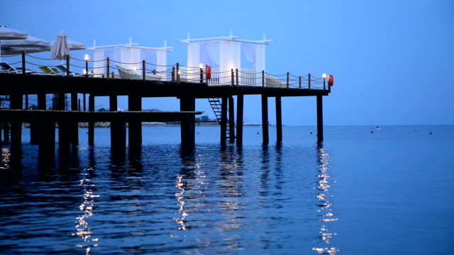 pier on the sea at dusk in alanya,turkey - ozgurdonmaz stock videos and b-roll footage