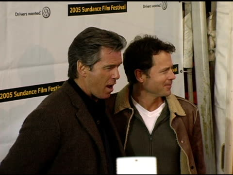 pierce brosnan and greg kinnear at the 2005 sundance film festival 'the matador' premiere at the eccles theatre in park city utah on january 21 2005 - pierce brosnan stock videos and b-roll footage