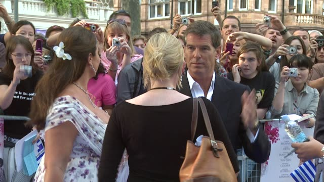 pierce brosnan and his wife keely shaye smith at the mamma mia premiere at london - keely shaye smith and pierce brosnan stock videos & royalty-free footage