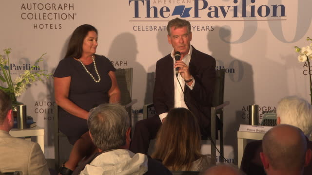 pierce brosnan and keely shaye brosnan introducing their new film poisoning paradise at 'poisoning paradise' press conference the 71st cannes film... - keely shaye smith and pierce brosnan stock videos & royalty-free footage