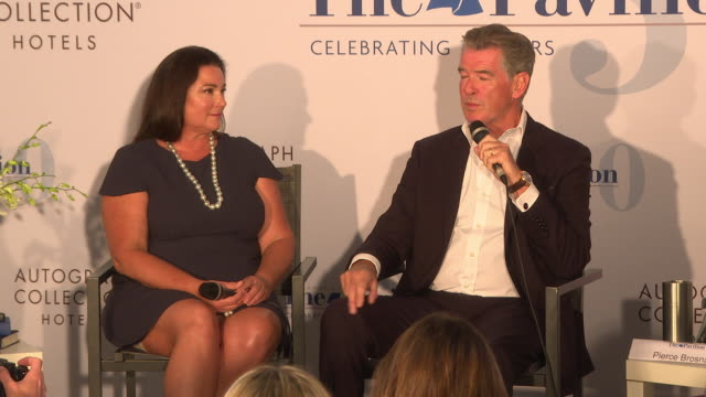 pierce brosnan and keely shaye brosnan on how they collaborated gave each other advice and dealt with stress at 'poisoning paradise' press conference... - keely shaye smith and pierce brosnan stock videos & royalty-free footage
