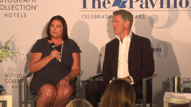 pierce brosnan and keely shaye brosnan on receiving any pushback or personal attacks on the subject of the documentary at 'poisoning paradise' press... - keely shaye smith and pierce brosnan stock videos & royalty-free footage
