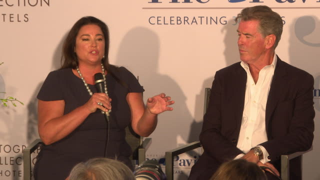 pierce brosnan and keely shaye brosnan on why do we not know how bad this is in hawaii at 'poisoning paradise' press conference the 71st cannes film... - keely shaye smith and pierce brosnan stock videos & royalty-free footage