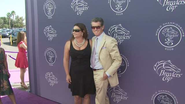pierce brosnan and keely shaye smith at the breeders' cup world thoroughbred championships day two at los angeles ca - keely shaye smith and pierce brosnan stock videos & royalty-free footage