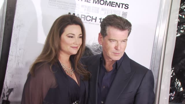 pierce brosnan and keely shaye smith at the 'remember me' new york premiere at new york ny - keely shaye smith and pierce brosnan stock videos & royalty-free footage