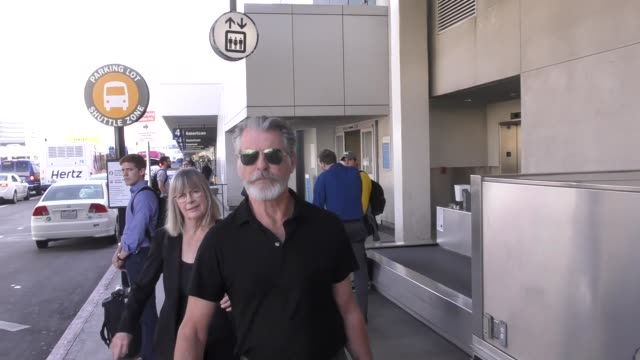Pierce Brosnan arriving at LAX Airport in Los Angeles in Celebrity Sightings in Los Angeles