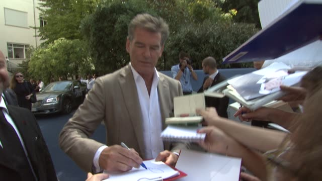 pierce brosnan at the all you need is love press conference 69th venice film festival on september 02 2012 in venice italy - pierce brosnan stock videos and b-roll footage