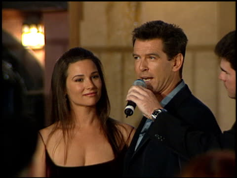 pierce brosnan at the premiere of 'the world is not enough' on november 8 1999 - pierce brosnan stock videos and b-roll footage