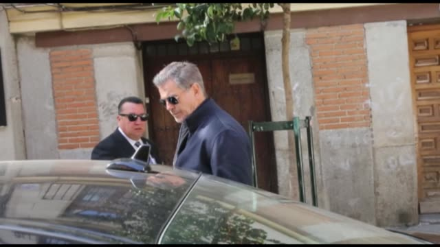 pierce brosnan enjoys a sunny day in madrid - pierce brosnan stock videos and b-roll footage