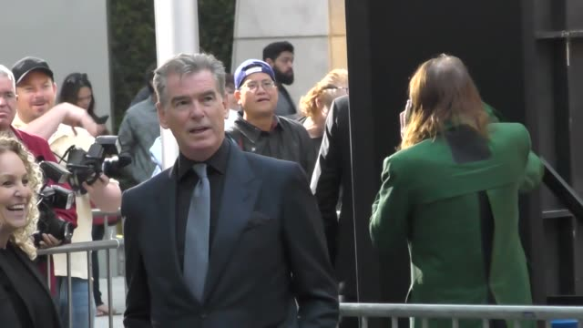 Pierce Brosnan greeting fans before The Son Premiere at ArcLight Theatre in Hollywood in Celebrity Sightings in Los Angeles
