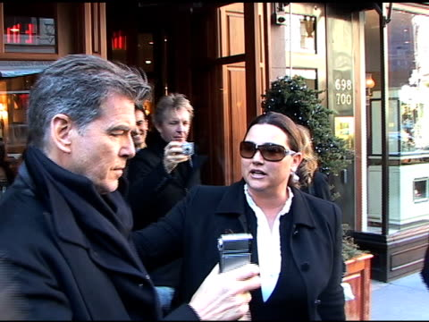 pierce brosnan keely shaye smith and his son at madison avenue restaurant nello at the celebrity sightings in new york at new york ny - keely shaye smith and pierce brosnan stock videos & royalty-free footage