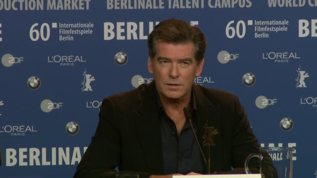pierce brosnan on hearing about polanskis incarceration and how he knew the film would be completed at the the ghost writer press conference 60th... - pierce brosnan stock videos and b-roll footage