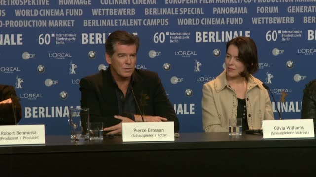 pierce brosnan on his career opportunities as an actor on his vision for his future on enjoying this present time at the the ghost writer press... - pierce brosnan stock videos and b-roll footage