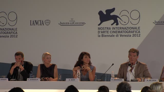 pierce brosnan on his character in the film at love is all you need press conference 69th venice film festival on 9/2/12 in venice italy - pierce brosnan stock videos and b-roll footage