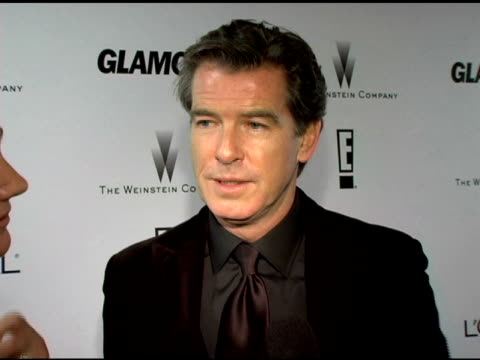 pierce brosnan on his golden globe nomination how joaquin deserved the award how harvey weinstein distributed 'matador' how weird is it that... - pierce brosnan stock videos and b-roll footage