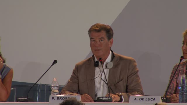 pierce brosnan on how he feels about james bond at love is all you need press conference 69th venice film festival on 9/2/12 in venice italy - pierce brosnan stock videos and b-roll footage