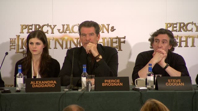 pierce brosnan on seeing himself as a working actor on playing different roles on james bond enabling him to do other things on being proud of... - james bond fictional character stock videos and b-roll footage