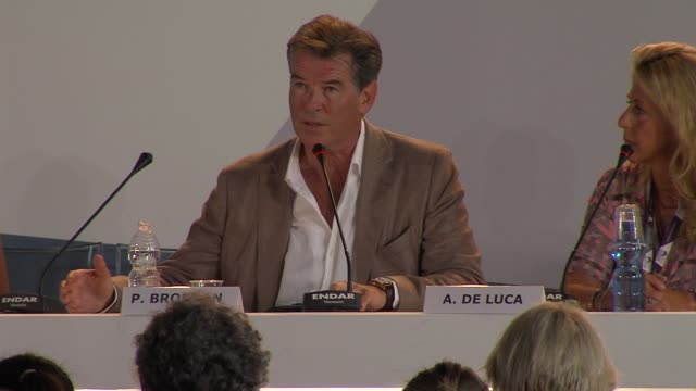 pierce brosnan on what the film is about at love is all you need press conference 69th venice film festival on 9/2/12 in venice italy - pierce brosnan stock videos and b-roll footage