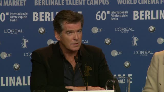 pierce brosnan on working with the director on his magical experiences on set on performing to his best at the the ghost writer press conference 60th... - pierce brosnan stock videos and b-roll footage